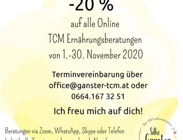 Aktion Online TCM Beratung Minus 20% Schau auf dich achte auf dich
