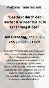 TCM Webinar Herbst und Winter Immunsystem stärken gesund bleiben